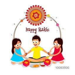 Cute little Sisters tying Rakhi in both hands of their Brother, Elegant Greeting Card design for Indian Traditional Festival, Happy Raksha Bandhan celebration.