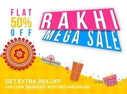 Rakhi Mega Sale, Sale Paper Banner, Sale Poster, Sale Flyer, Sale Ribbon, Flat 50% Off, Online Sale, Creative Sale Background with beautiful decorative Rakhi design and Gifts.