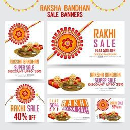 Creative Sale Banner, Social Media Post and Header set, Super Sale with Flat Discount Offer, Vector illustration with Beautiful Rakhi and other elements for Indian Traditional Festival, Happy Raksha Bandhan celebration.