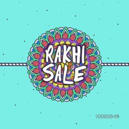 Rakhi Sale Poster, Sale Banner, Sale Flyer, Sale Background with Creative Colourful Rakhi, Vector illustration for Indian Traditional Festival, Happy Raksha Bandhan celebration.