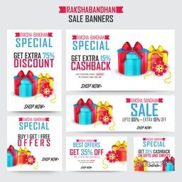 Raksha Bandhan Special Sale, Creative Sale Banner set, Extra Discount Offer Sale, Sale Background with beautiful rakhi and gifts, Creative vector illustration.