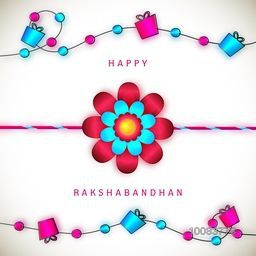Beautiful Glowing Rakhi on gifts decorated stylish background, Elegant Greeting Card design for Indian Festival of Brothers and Sisters, Happy Raksha Bandhan celebration.