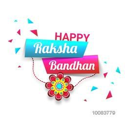 Stylish Text Happy Raksha Bandhan on glossy paper banners with Beautiful Rakhi, Elegant Greeting Card design for Indian Festival of Brothers and Sisters celebration.