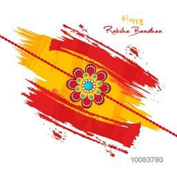 Beautiful Creative Rakhi on abstract brush stroke background, Elegant Greeting Card design for Indian Traditional Festival, Happy Raksha Bandhan celebration.