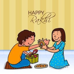 Illustration of a cute girl tying Rakhi on her brother's wrist for Happy Raksha Bandhan celebration.