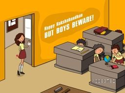 Happy Raksha Bandhan celebration concept with illustration of a girl holding Rakhi for tying, But all boys beware and hiding behind desk in the class.
