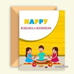 Cute little Sisters tying Rakhi on their Brother's wrist, Beautiful Greeting Card design with Glossy Envelope for Happy Raksha Bandhan celebration.