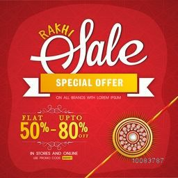 Rakhi Sale Poster, Sale Banner, Sale Flyer, Special Offer Sale, Flat Discount Offer, Creative Sale Background, Concept for Indian Festival, Raksha Bandhan celebration.