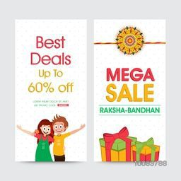 Creative Website Banner set, Mega Sale Website Banner, Best Deals with 60% Off, Vector illustration for Indian Festival of Brother and Sister Love, Raksha Bandhan celebration.