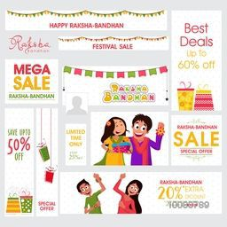 Creative Social Media Post and Header set of Mega Sale with Special Discount Offers on occasion of Indian Traditional Festival, Happy Raksha Bandhan celebration.