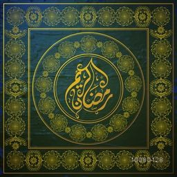 Traditional floral design decorated elegant greeting card with Arabic Islamic Calligraphy text Ramadan Kareem for Holy Month of Muslim Community festival celebration.