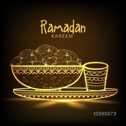Creative golden illustration of sweet dates in bowl with glass on shiny brown background for Islamic Holy Month of Fasting, Ramadan Kareem celebration.