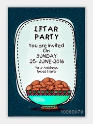 Creative Invitation Card design with illustration of sweet dates for Ramadan Kareem Iftar Party celebration.