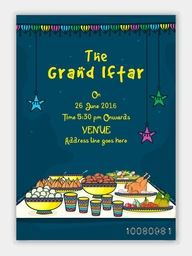 The Grand Iftar Invitation Card design with illustration of delicious food.