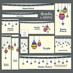 Social Media post and header set with ornaments for Holy Month of Muslim Community, Ramadan Kareem celebration.