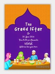 The Grand Iftar Invitation Card design with illustration of a happy family enjoying delicious food.
