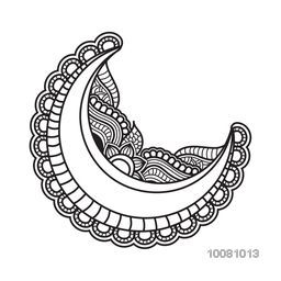 Black and white illustration of a crescent moon with beautiful floral decoration for Muslim Community Festival celebration.