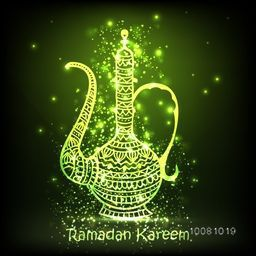 Beautiful shiny green traditional Jug made by creative ethnic floral pattern for Islamic Festival celebration.