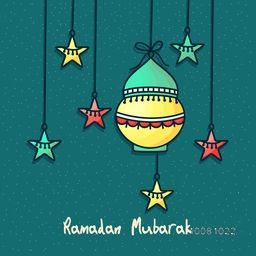 Colourful hanging lamp and stars decorated greeting card design for Islamic Holy Month of Fasting, Ramadan Mubarak celebration.