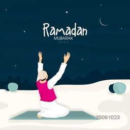 Religious Muslim Man reading Namaz (Islamic Prayer) in night for Holy Month of Fasting, Ramadan Kareem celebration.