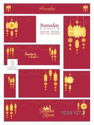 Stylish social media ads, post, headers or banners with traditional lanterns for Holy Month of Muslim Community, Ramadan Kareem celebration.