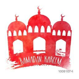 Creative Mosque made by paint stroke on white background for Holy Month of Muslim Community, Ramadan Kareem celebration.