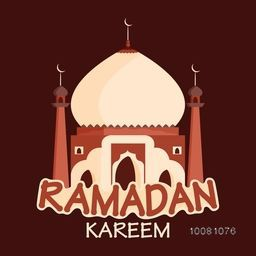 Holy Month of Muslim Community, Ramadan Kareem celebration with colourful creative Mosque on brown background.