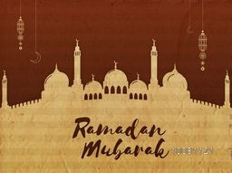 Creative Mosque made by cardboard on brown background for Islamic Holy Month of Prayers, Ramadan Mubarak celebration.