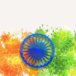 Glossy blue Ashoka Wheel on floral design decorated, saffron and green colours splash background for Happy Indian Republic Day celebration.