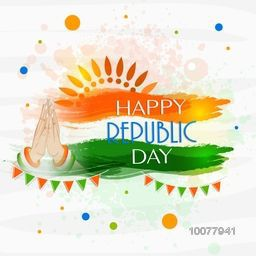 Happy Republic Day celebration concept with glossy tricolours paint stroke and women's hand in Indian greeting (Namaste) pose.
