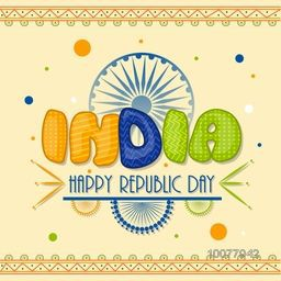 Glossy National Flag colours text India on Ashoka Wheel decorated, floral background for Happy Indian Republic Day celebration.
