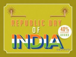 Sale Poster or Banner with 40% discount offer for Happy Indian Republic Day celebration.