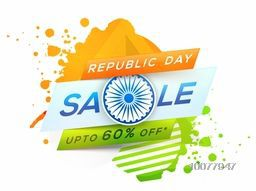 Creative Sale Poster or Banner with saffron and green colours splash for Happy Indian Republic Day celebration.