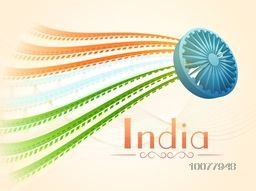 3D glossy Ashoka Wheel with National Flag colours abstract waves for Happy Indian Republic Day celebration.