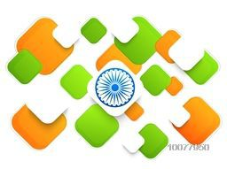 Creative National Flag colours abstract design with Ashoka Wheel for Happy Indian Republic Day celebration.