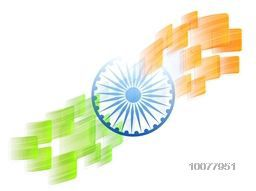 Creative Ashoka Wheel with glossy saffron and green colours abstract design for Happy Indian Republic Day celebration.