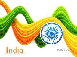 Creative abstract National Flag colours waves with Ashoka Wheel for Happy Indian Republic Day celebration.