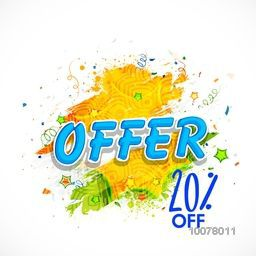 Sale Poster, Banner or Flyer design with 20% discount offer for Happy Indian Republic Day celebration.
