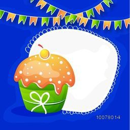 Sweet cupcake in Indian National Flag colours with space for Happy Indian Republic Day celebration.