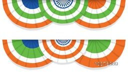 Creative National Flag colours bunting for Happy Indian Republic Day celebration.