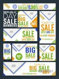 Big Sale social media ads, post, headers or banners for Happy Indian Republic Day celebration.