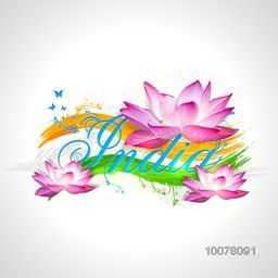 Stylish text India with Indian National Flower Lotus on tricolour waves background for Happy Republic Day celebration.