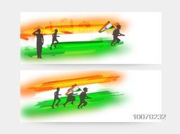Creative website header or banner set with National Flag colours and silhouette of boys for Indian Republic Day celebration.