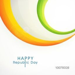 Happy Indian Republic Day celebration greeting card with glossy National Flag colours waves.