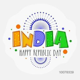Creative National Flag colours text India on floral decorated background for Happy Republic Day celebration.