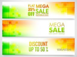 Mega Sale website header or banner set with discount offers for Happy Indian Republic Day celebration.