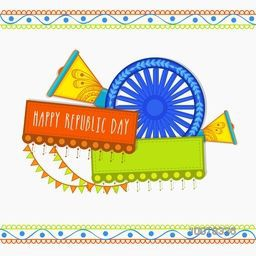 Greeting card design for Happy Indian Republic Day celebrations.