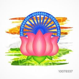 Creative Indian National Flower Lotus with Ashoka Wheel on saffron and green colours paint stroke background for Happy Republic Day celebration.