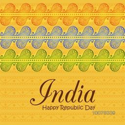 Glossy National Flag colours floral design decorated beautiful greeting card for Happy Indian Republic Day celebration.