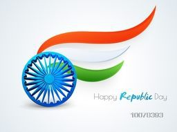 3D glossy Ashoka Wheel with National Flag colours waves for Happy Indian Republic Day celebration.